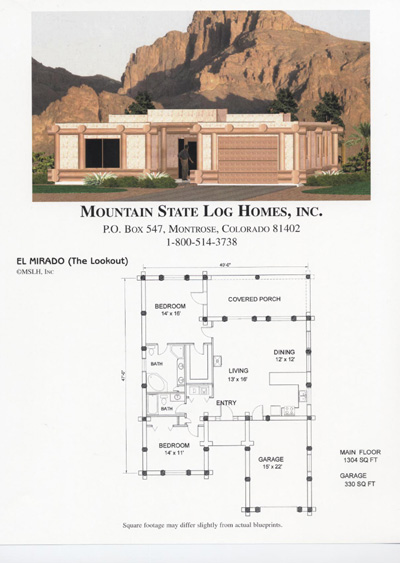 Mountain state log homes House plans less than 1500 square feet